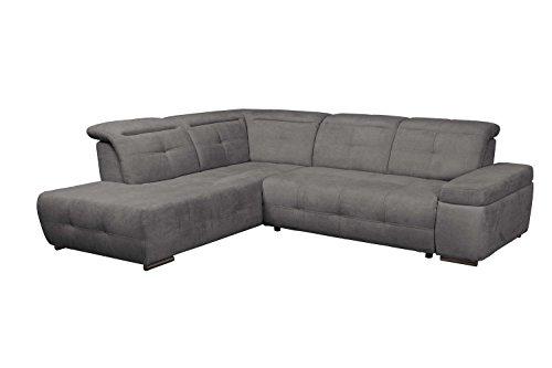 Cavadore Polsterecke Mistrel mit Ottomanen links / Eck-Couch mit Bettfunktion / Schlaffunktion / Kopfteilverstellung