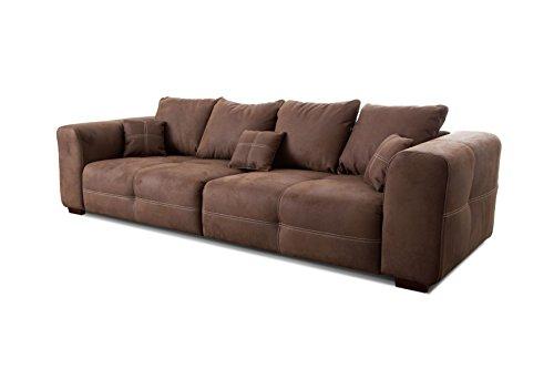 Cavadore/XXL Couch im modernen Design mit Mikrofaser-Bezug/Inklusive Rückenkissen und Zierkissen/Maße: 287 x 69 x 108 cm (BxHxT)