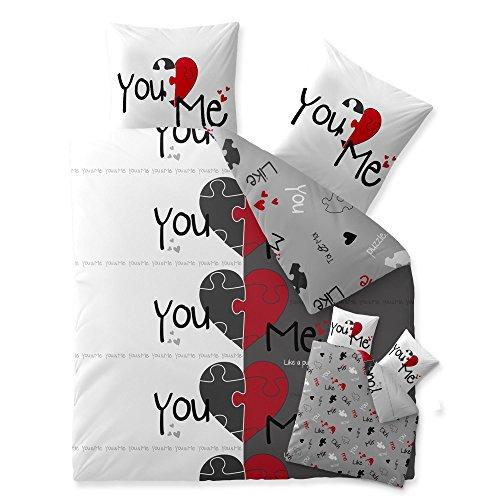 CelinaTex 5000427 Bettwäsche 200 x 200 cm Baumwoll-Renforcé OEKO-TEX Fashion Du & Ich Weiß Grau Rot Herz Wende-Design