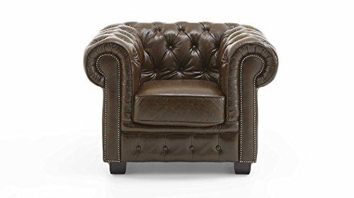 Chesterfield-Sessel-Echtleder-Sofa-antik-braun-Knopfheftung-1-Sitzer-Vollleder-0