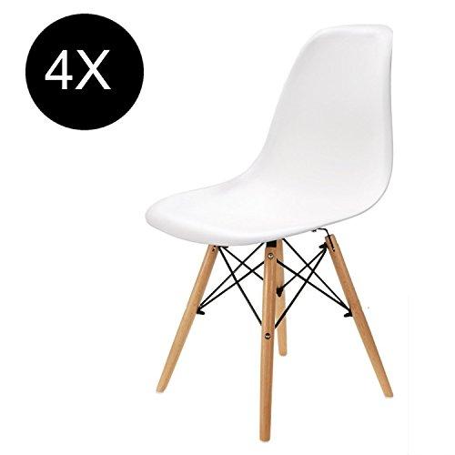 Comfortableplus-Set-von-4-Esszimmersthlen-Eiffel-Retro-Plastik-Sitz-und-Holz-Beine-fr-Esszimmer-Schlafzimmer-Kche-Wei-0-0