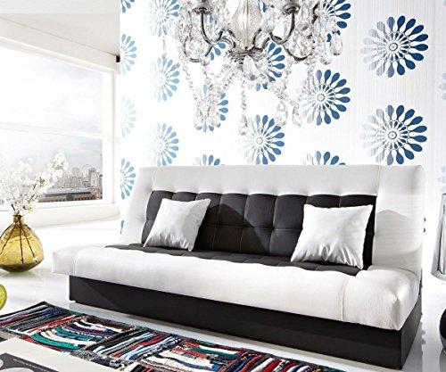 Couch Bulgur Weiss Schwarz 182x81 Schlafsofa mit Bettkasten