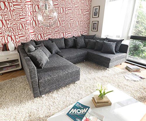 Couch-Clovis-Schwarz-Strukturstoff-mit-Hocker-Wohnlandschaft-modular-0