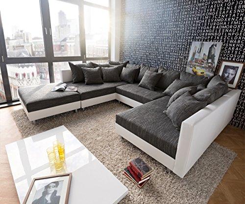 Couch-Clovis-Weiss-Schwarz-mit-Hocker-Wohnlandschaft-Modulsofa-0