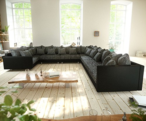 Couch-Clovis-XXL-Schwarz-mit-Armlehne-Ottomane-Rechts-Wohnlandschaft-Modulsofa-0