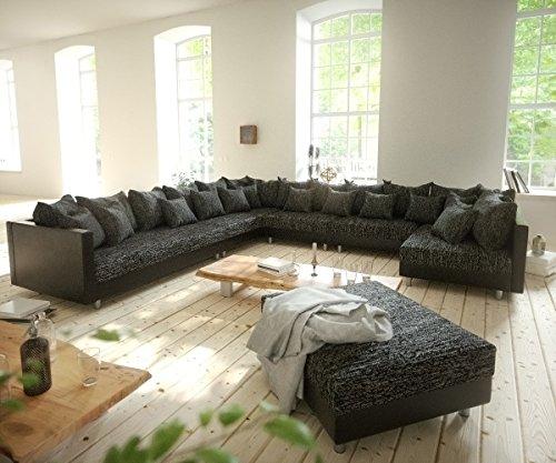 Couch-Clovis-XXL-Schwarz-mit-Hocker-Ottomane-Links-Wohnlandschaft-Modulsofa-0