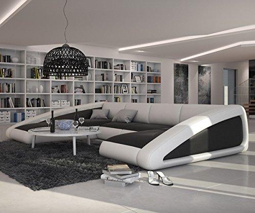Couch-Kerry-Weiss-Schwarz-355x245-cm-XXL-Sofa-Ottomane-links-0