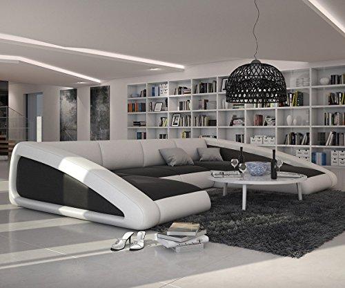 Couch-Kerry-Weiss-Schwarz-355x245-cm-XXL-Sofa-Ottomane-rechts-0-0