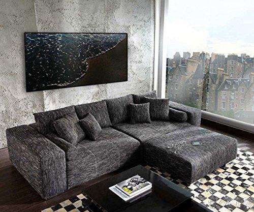 Couch-Marbeya-Schwarz-290x110-cm-mit-Schlaffunktion-Hocker-0