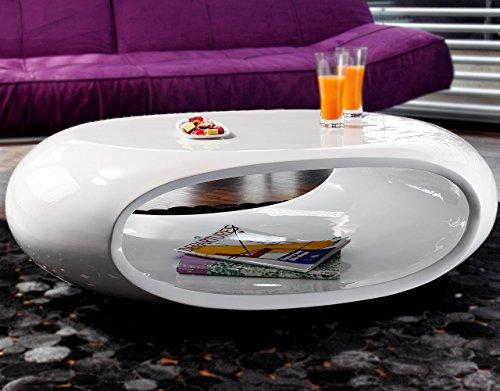 Couch-Tisch Hochglanz weiß oval 100x70 cm aus Fiberglas | Ofu | Moderner Wohnzimmer-Tisch in weiss mit trendiger Optik durch High-Gloss Oberfläche 100cm x 70cm