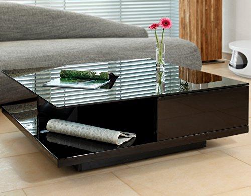 Couch-Tisch schwarz Hochglanz mit Schublade 100x100cm quadratisch | Carla | Moderner Wohnzimmer-Tisch mit Tischplatte aus Kristallglas 100cm x 100cm