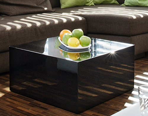 Couch-Tisch schwarz Hochglanz quadratisch aus MDF 60x60cm quadratisch   Kuba   Moderner Wohnzimmer-Tisch in schlichtem Design 60cm x 60cm