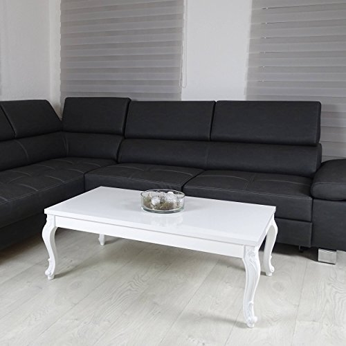 Couchtisch 3 Größen Hochglanz Weiß Lack Blüten Tisch Beistelltisch Holz Lack 100 x 60 cm