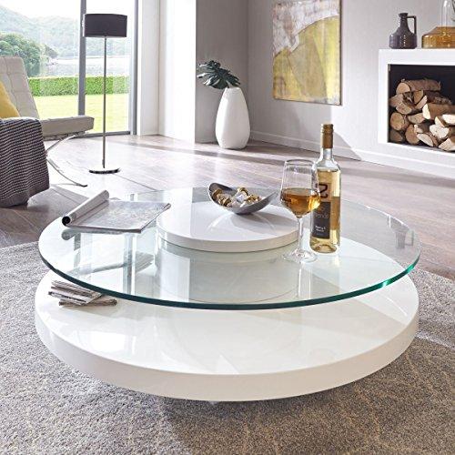 couchtisch glas rund wei hochglanz almada lack sicherheitsglas beistelltisch m bel24