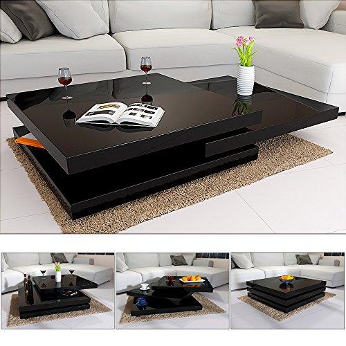 Couchtisch Wohnzimmertisch Hochglanz Beistelltisch Tisch Sofatisch Tischplatte 360° drehbar - Farbe Schwarz