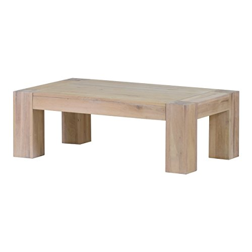 Couchtisch Wohnzimmertisch Stubentisch Tisch Granby 140x70, Massivholz Holz Eiche massiv Balkeneiche White Wash, Breite 140 cm, Tiefe 70 cm, Höhe 40 cm