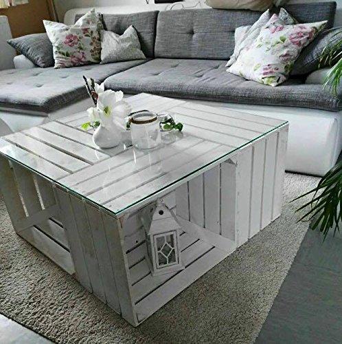 couchtisch aus neuen weien apfelkisten auf rollen inkl. Black Bedroom Furniture Sets. Home Design Ideas