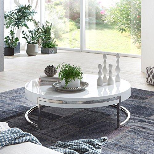 couchtisch rund wei hochglanz breda lack gestell hochglanzpoliert edelstahl m bel24. Black Bedroom Furniture Sets. Home Design Ideas