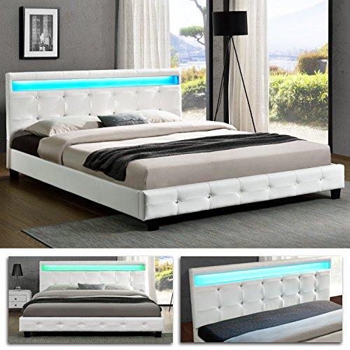 DENVER Doppelbett LED Polsterbett Bettgestell Bett Lattenrost Kunstleder (140 x 200, Weiss)