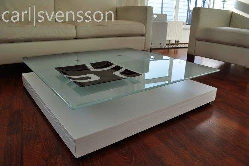 DESIGN COUCHTISCH Tisch V-570 weiß Milchglas Carl Svensson NEU