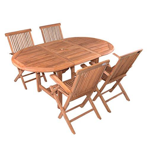 DIVERO 5 tlg. Garten Möbel Set Sitzgruppe TEAK Holz Klappstuhl Tisch 120/170
