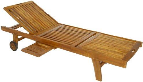 DIVERO Sonnenliege aus Akazienholz Relaxliege Liege Holz