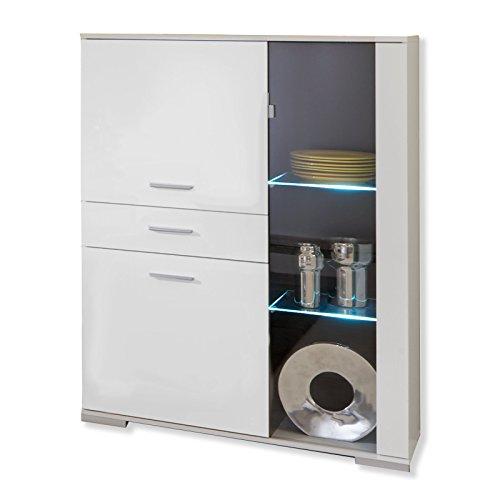 Demeyere 416763 Hochkommode Spanplatte, 100,7 x 41,7 x 137,1 cm, weiß
