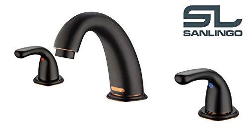 Design-3-Loch-Armatur-Bad-Waschale-Waschbecken-Waschtisch-Sanlingo-Schwarz-Brniert-0
