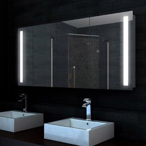 Design Alu Badezimmer Spiegel Schrank LED 140x68cm SK14068