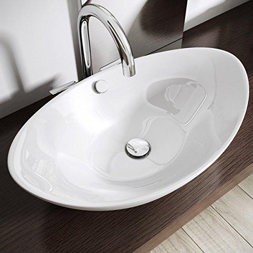 Design-Aufsatzwaschbecken inkl. Lotus-Effekt durch Nano-Versiegelung aus Keramik | BTH: 58x38x19cm | Aufsatz-Waschbecken / Waschtisch