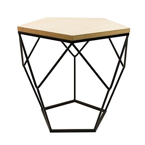 Design Beistelltisch in modernem, geometrischen Design, Ø 36,5 cm, 38,5 cm hoch, Gestell aus schwarzem Metall mit Tischplatte aus Holz, dekorativer Couchtisch, fünfeckiger Wohnzimmertisch im Industrial Design, Retro, Vintage Sofatisch mit Holzplatte