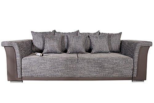 Design-Big-XL-Sofa-BELLINA-hellgrau-Strukturstoff-charcoal-Schlaffunktion-Federkern-0
