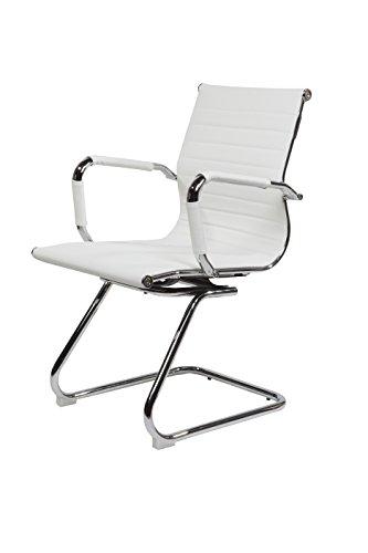 Design Bürostuhl Chrom Rahmen Elegance Chefsessel Drehstuhl Konferenzstuhl Farbwahl (Weiß, Konferenz Freischwinger)