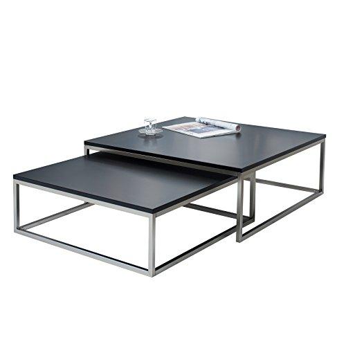 awesome design couchtisch er set big fusion matt schwarz chrom gebrstet satztische tischset with couchtisch gnstig online kaufen