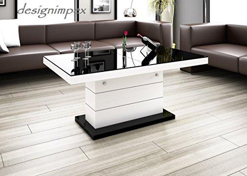 Design-Couchtisch-H-333-Wei-Schwarz-Hochglanz-hhenverstellbar-ausziehbar-Tisch-Wohnzimmertisch-0