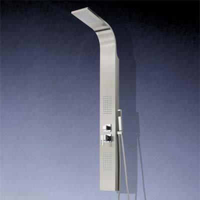Design Edelstahl Duschpaneel | Massive Duschsäule Silber | Wellness Tropenregen-Duscherlebnis mit Antikalk System