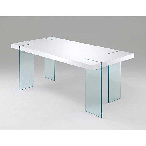 Esstisch Pharao ~ Design Esstisch mit Glasbeinen Weiß Pharao24  MOEBEL24