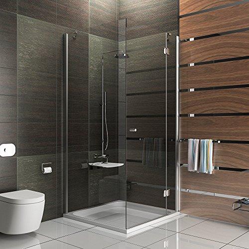 Design Viereck Dusche Echtglas Duschkabine Duschabtrennung 100x80x195 Easy Clean Glas Duschkabine mit Antikalk