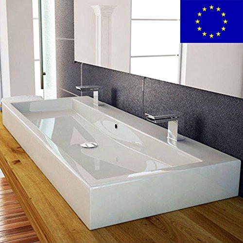 Design Waschbecken 100cm zur Wandmontage oder als Aufsatzwaschbecken mit 2 Armaturlöcher | 100x42x10cm | Material: hochwertiges Mineralguss | hochwertig verarbeitet | Qualität MADE IN EU