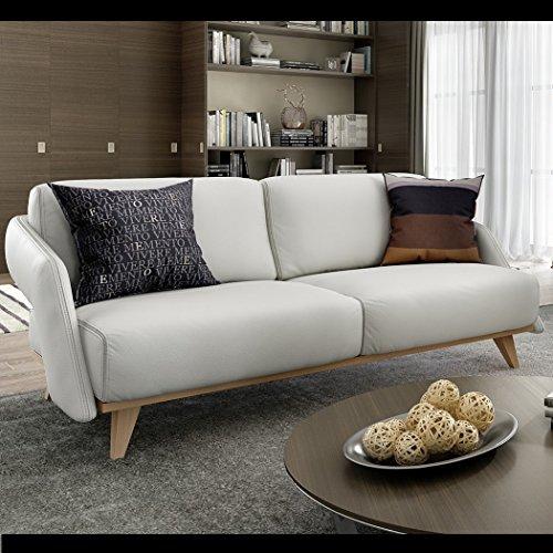 Designer Ledersofa Zweisitzer Leder Couchgarnitur Holz Buche Polstergarnitur Designsofa