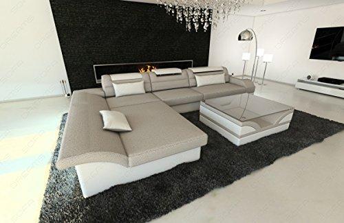 Designercouch MONZA L-Form mit LED graubeige-weiss