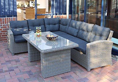 Destiny Loungegruppe RIVIERA II Lounge EXTRAHOCH Sitzgruppe Sofaset Polyrattan Rattan Graumix
