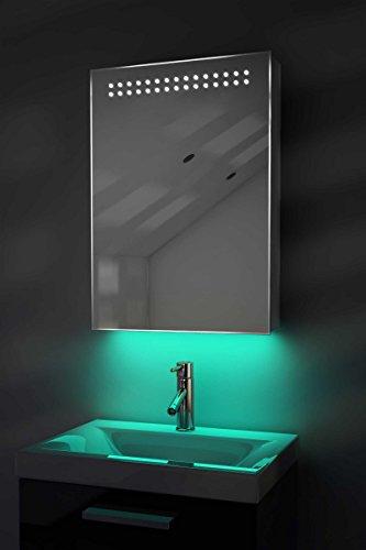 Diamond X Collection Badezimmer-Spiegelschrank, Ambiente, mit Schwamm zum Abwischen des Spiegels, Sensor & Rasiersteckdose, 700x500x115mm (HxBxT) (K181) türkis