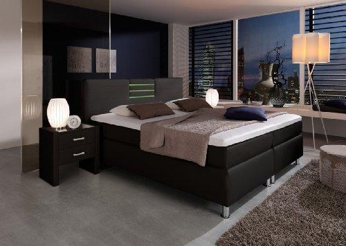 dreams4home boxspringbett flashlight kt2 schwarz 100 140 160 180 200x200cm verschiedene. Black Bedroom Furniture Sets. Home Design Ideas