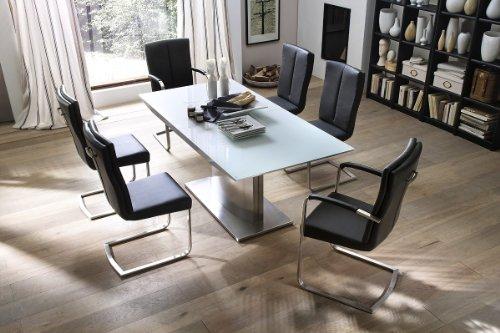 Dreams4Home Essgruppe Sally Tischgruppe Glasplatte MDF Hochglanz weiß Esstisch ausziehbar 6 x Freischwinger, braun