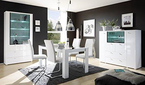 Dreams4Home Esszimmer Set 'Lunis' - Set, Glasvitrine, Highboard, Esszimmertisch, ohne Stühle, Aufbewahrung, Esszimmer, Küche, in hochglanz weiß