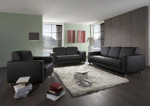 Dreams4Home, Polstergarnitur Polstersofa 'Lugano', 3+2+1-Sitzer, weiß, schwarz, Farbe:Schwarz