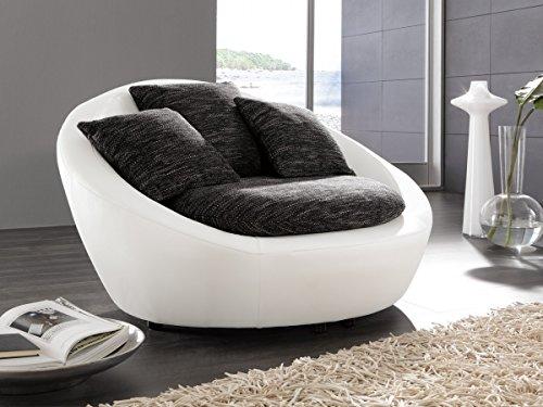 Dreams4Home-Sessel-Bari-Kuschelsessel-Polstergarnitur-Clubsessel-Loungesessel-Relaxsessel-Wohnzimmer-Polstersessel-Stellma-BxT-130-x-112-cm-in-schwarz-grau-und-Kunstleder-schneewei-0