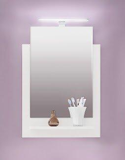 Dreams4Home Spiegel mit Ablage 'Tiago II', Spiegel, Wandspiegel, Hängespiegel,Badezimmerspiegel, Badmöbel, Badezimmer, (B/H/T) ca. 50 x 71 x 12 cm, weiß Glanz, Beleuchtung:ohne Beleuchtung