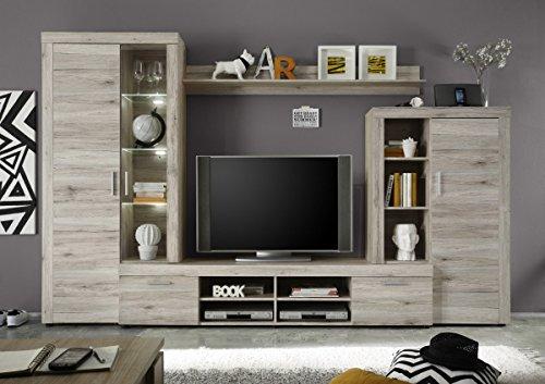 Dreams4Home Wohnkombination 'Lumah', Schrank Vitrine TV-Schrank Wohnwand Wohnelement Wohnzimmer Regalwand Sandeiche inkl. Beleuchtung